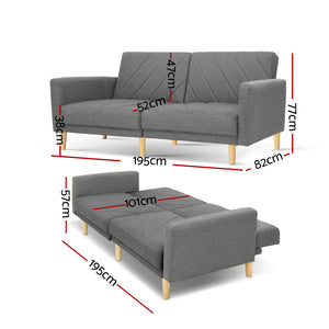 Artiss Sofa Bed Lounge 3 Seater Futon Couch Wood Furniture Grey Fabric 193cm