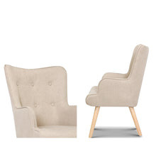 Load image into Gallery viewer, Artiss Armchair Lounge Chair Fabric Sofa Accent Chairs and Ottoman Beige