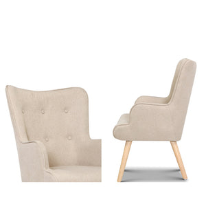 Artiss Armchair Lounge Chair Fabric Sofa Accent Chairs and Ottoman Beige