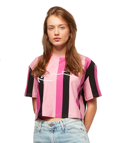 SIGNATURE STRIPE TEE ROSA NERO