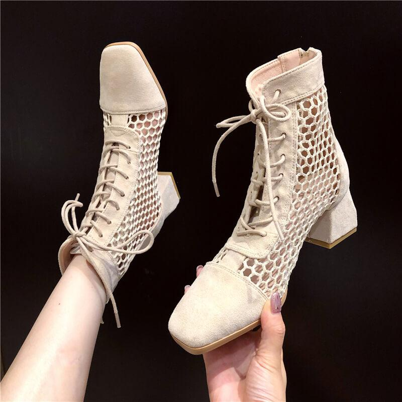 Suede Square Toe Cutout Strap Chunky Heel Calf Boots