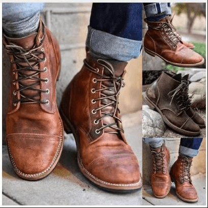 Ankle Leather Lace Up Martin Boots