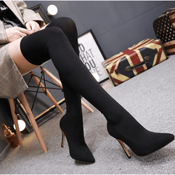 Black High Heel Pointed Toe Over Knee Sock Boots