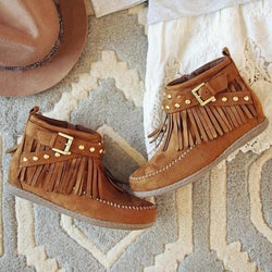 Wedge Flat Buckle Suede Round Toe Ankle Boots