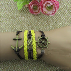Retro Anchor Rudder Leather Cord Bracelet - Oh Yours Fashion - 1