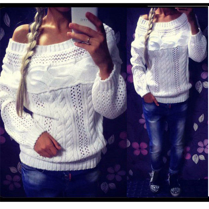 Cable Straight Collar Hollow Knit Pullover Sweater - Oh Yours Fashion - 1