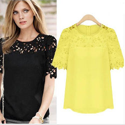 Lace Patchwork Short Sleeves Scoop Hollow Out Chiffon Blouse - Oh Yours Fashion - 1