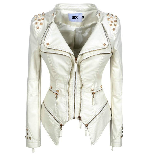 Lapel Rivet Studded Moto Jacket