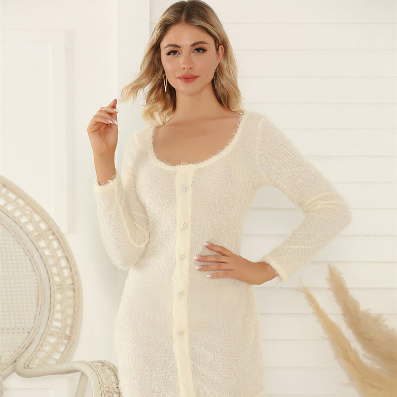 White With Button Knit Bodycon Dress