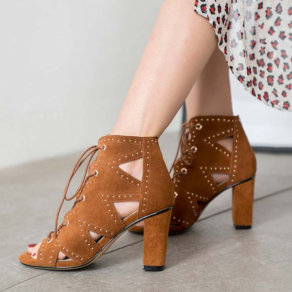 Strap Lace Up Chunky Heel Cutout Sandals