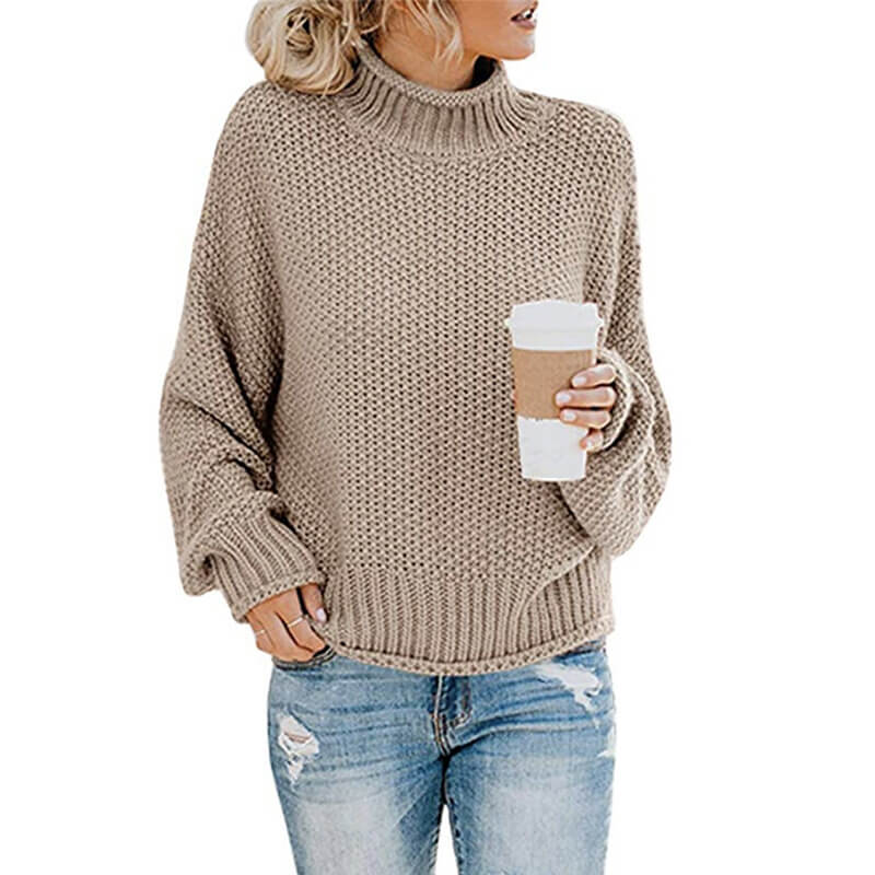 Turtleneck Crocheted Chunky Pullover Sweater
