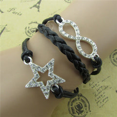 Vintage Crystal Star Leather Cord Bracelet - Oh Yours Fashion - 3