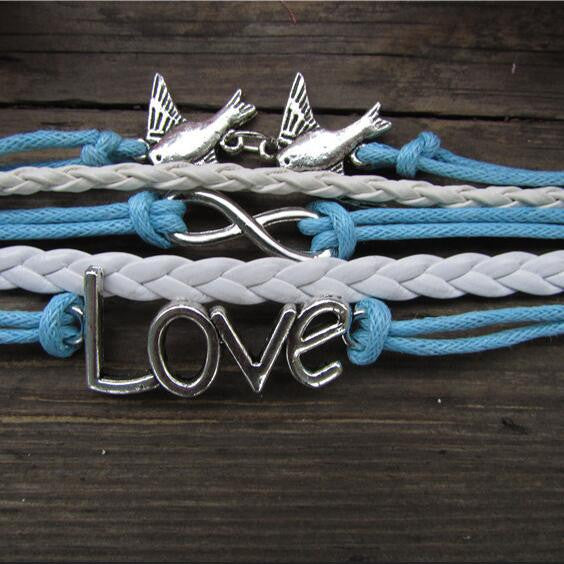Classic Love Dove Eight Hand-made Leather Cord Bracelet - Oh Yours Fashion - 1