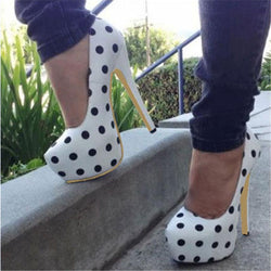Sexy Polka Dot Stiletto Heel High Platform Heel Shoes
