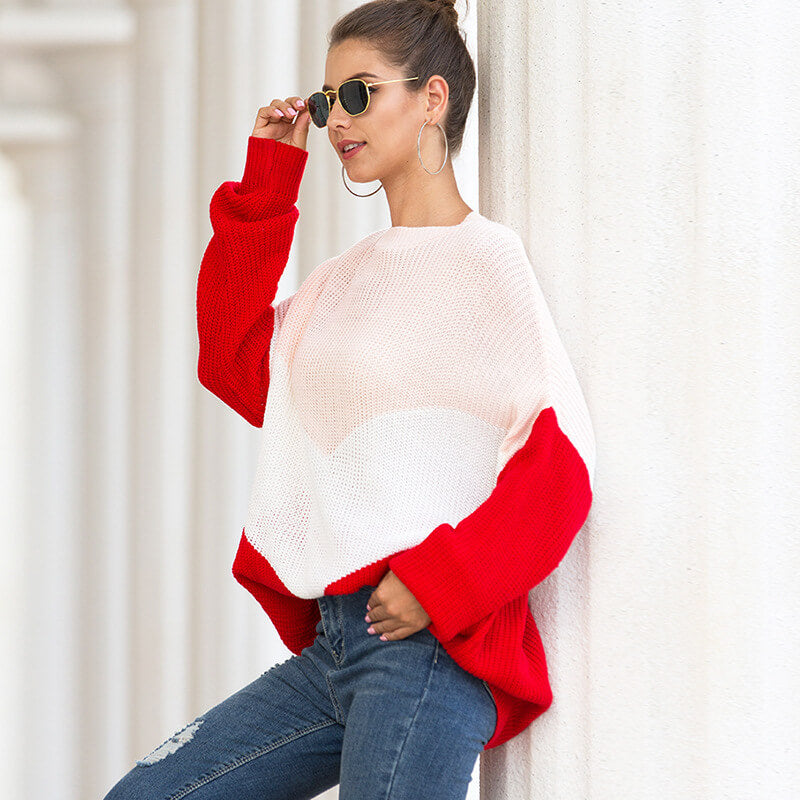 Colorblock Knitting Long Sleeve Pullover Sweater