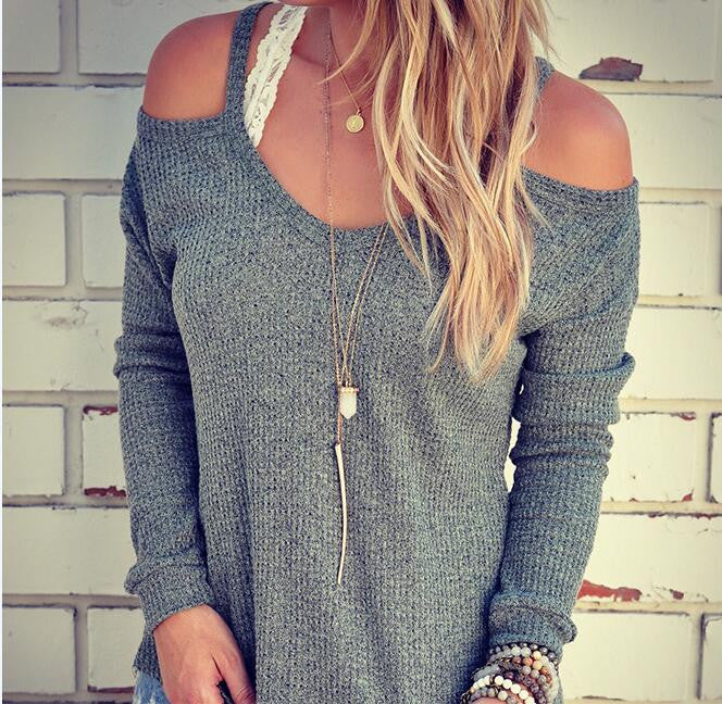 Sexy Dew Shoulder Loose Sweater - Oh Yours Fashion - 6