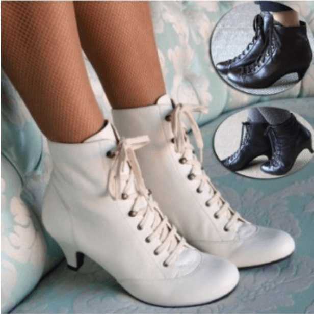Plain Leather Low Heel Strap Ankle Boots