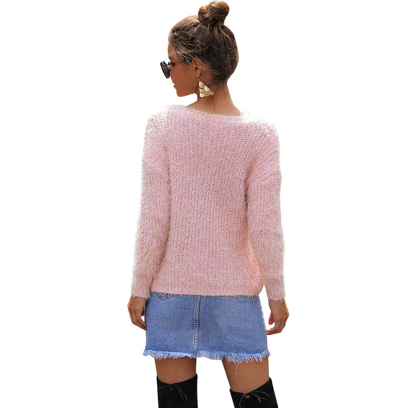Cropped Fuzzy Loose Long Sleeve Women Sweater