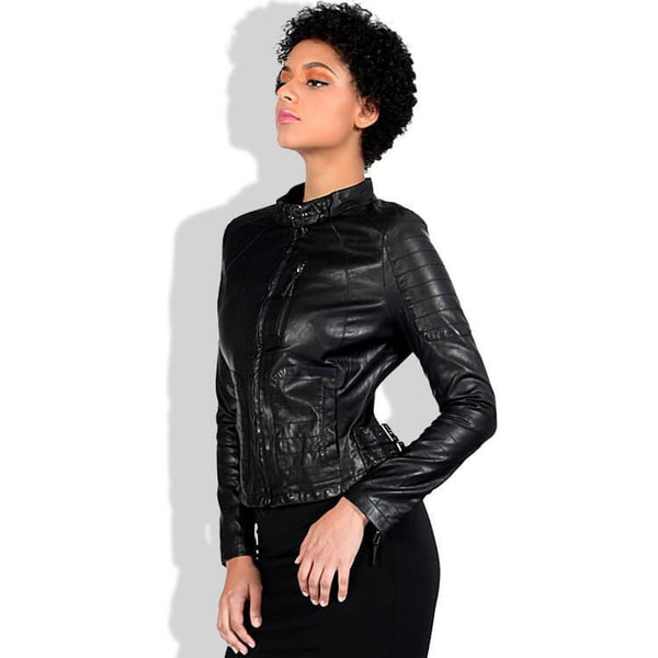 Punk Leather Mock Neck Moto Jacket