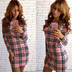 Long Sleeves Scoop Neck Plaid Short Dress