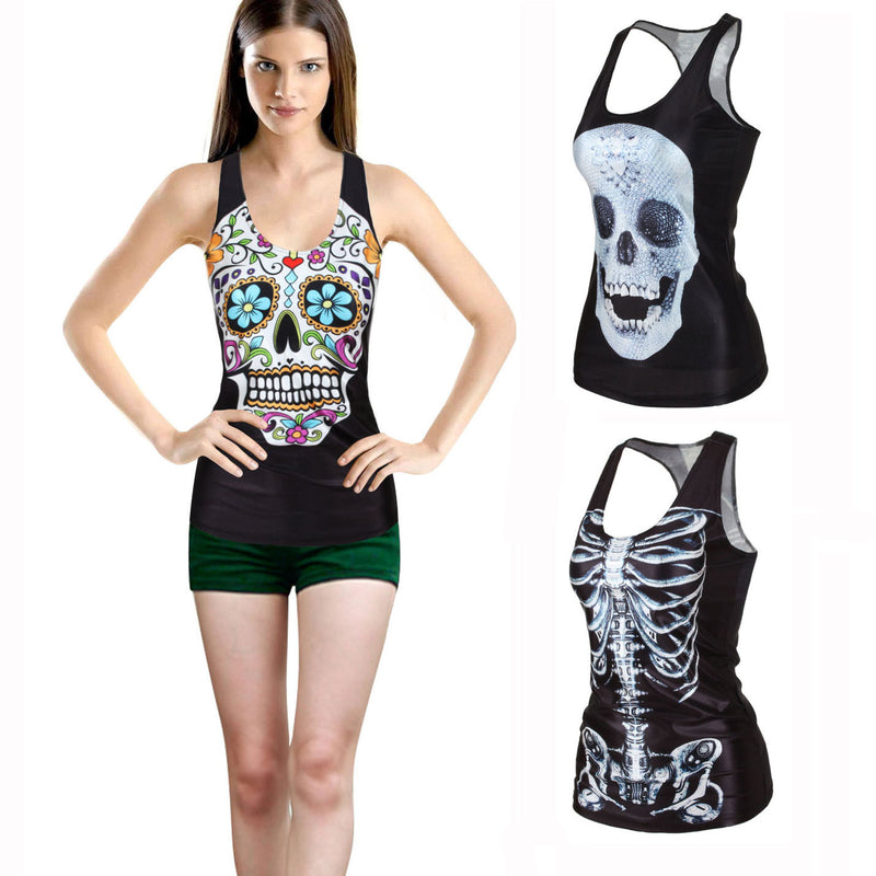 Flower Print Skull H-shaped Sheath Fashion Vest - Oh Yours Fashion - 1