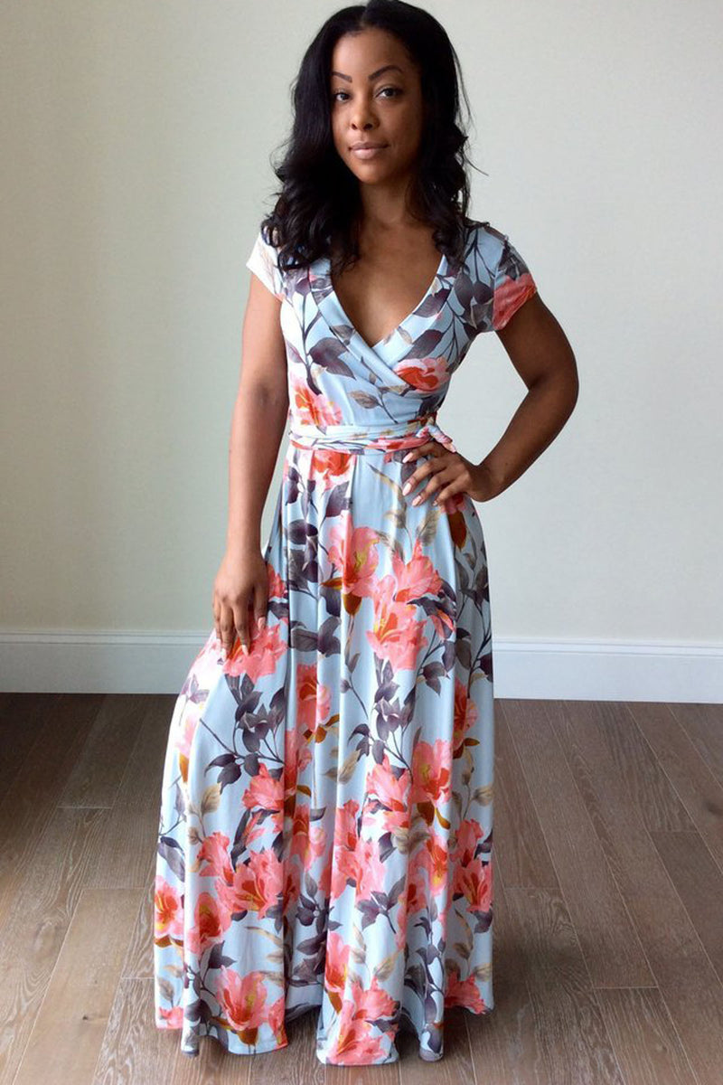 Floral Print Deep V-neck Neckline Long Dress