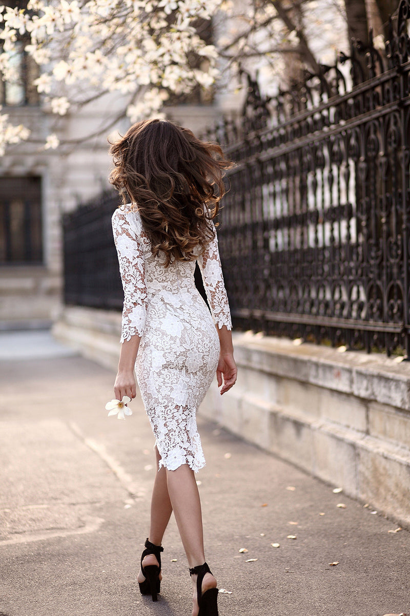 Gorgeous White Lace Bodycon Dress - Oh Yours Fashion - 5
