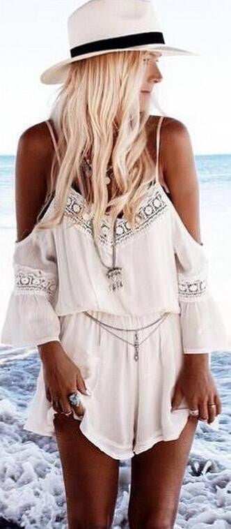 Dew Shoulder V Neck Chiffon Lace Long Sleeve Short Jumpsuit - Oh Yours Fashion - 2
