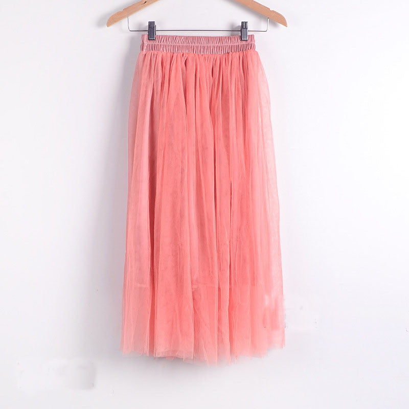 Double Layers Mesh Pleated Long Fluffy Beach Skirt - Oh Yours Fashion - 8