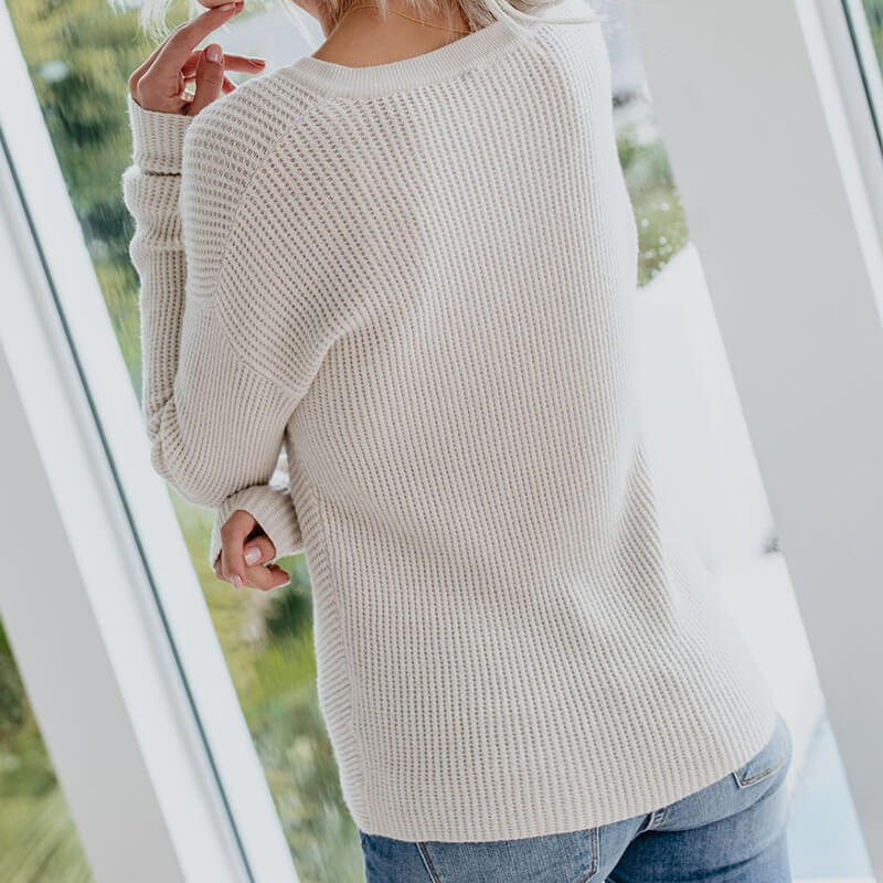Oversized Crewneck Twist Hem Knit Top