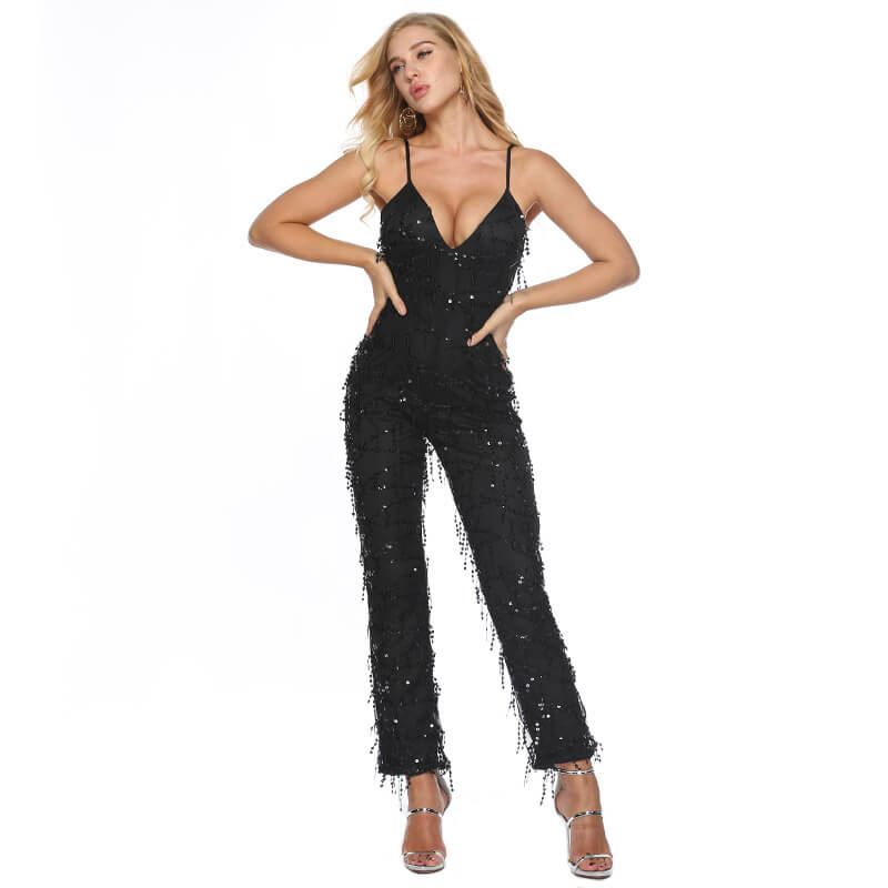 Sparkling Low Cut Fringe Jumpsuit