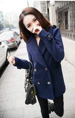 Button Thick Long Sleeves Turn-down Collar Short Coat - Oh Yours Fashion - 5