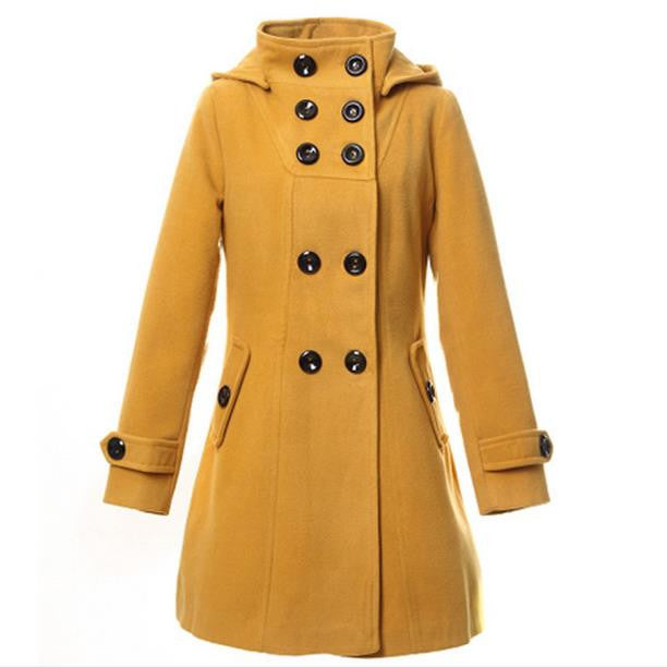 Double Button Hooded Long Sleeves Mid-length Wool Thick Coat - Oh Yours Fashion - 2