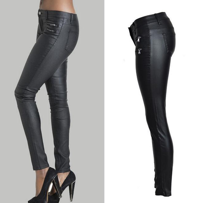 Low Waist Double Zipper Button Slim PU Leather Pants - Meet Yours Fashion - 4