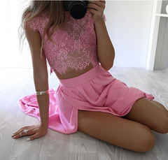 Three Pieces Lace Crop Top Slit Long Skirt Dress Set - Oh Yours Fashion - 5