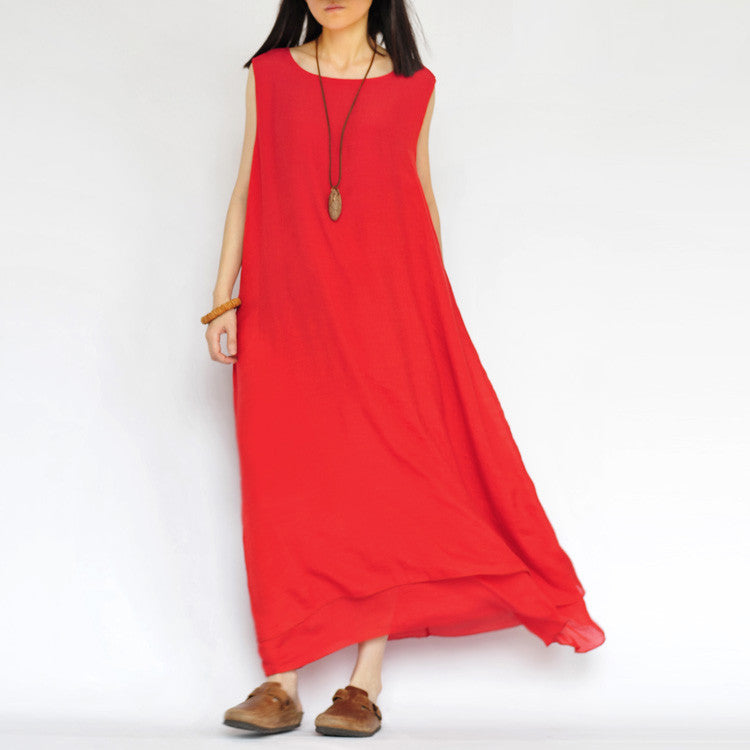 Pure Color Loose O-neck Sleeveless Long Dress - Oh Yours Fashion - 5