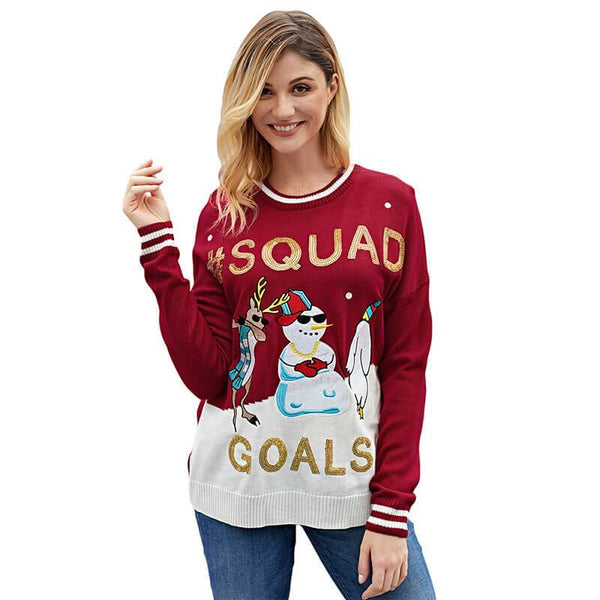 Ugly Christmas Sonwman Print Knit Sweater