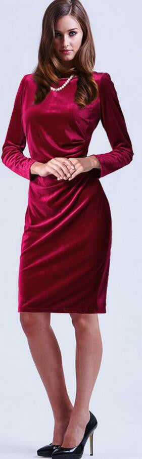 Fashion Velvet Scoop Long Sleeve Knee-Length Dress - Oh Yours Fashion - 2