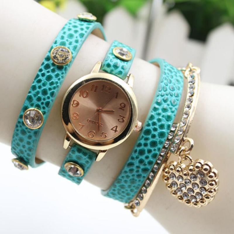 Crystal Heart PU Strap Wristwatch - Oh Yours Fashion - 5
