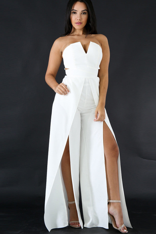 Pure Color Strapless Split High Waist Long Jumpsuit