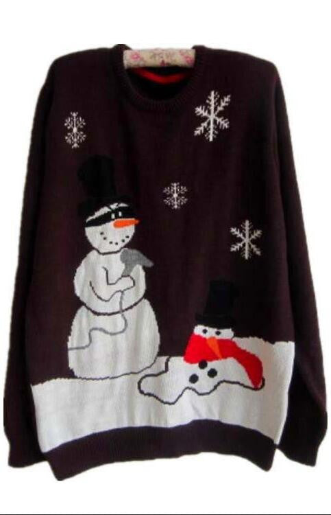 Plus Size Christmas Snowman Penguin Scoop Long Sleeve Sweater - Oh Yours Fashion - 2