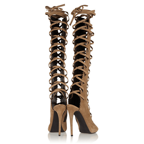 Brown Peep Toe Lace Up Knee High Gladiator Sandal Boots