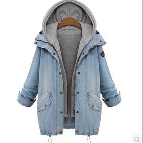 Blue Hooded Drawstring Denim Two Pieces Coat