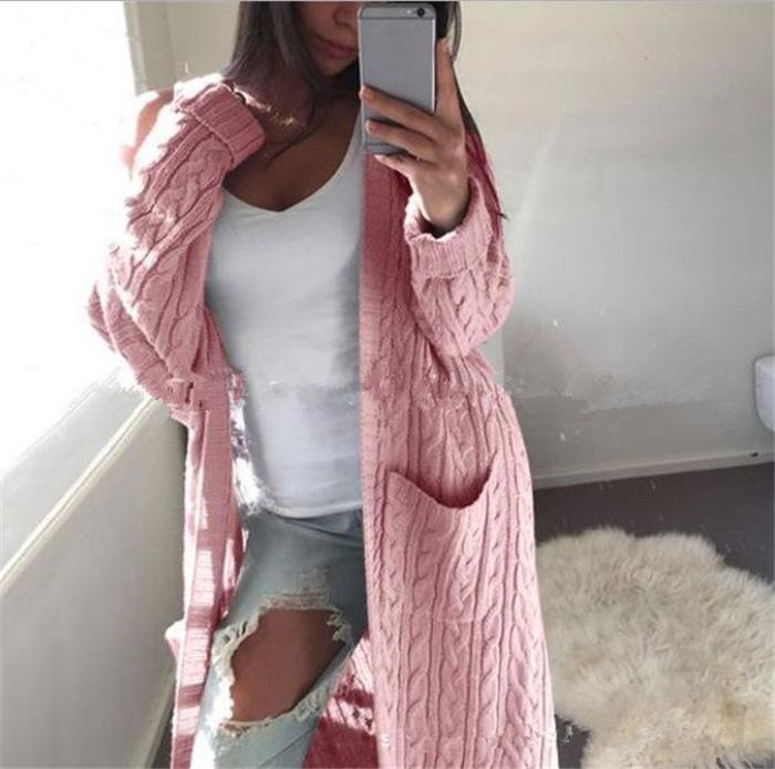 Cabel Knitwear Two Pockets Women Oversized Long Cocoon Cardigan