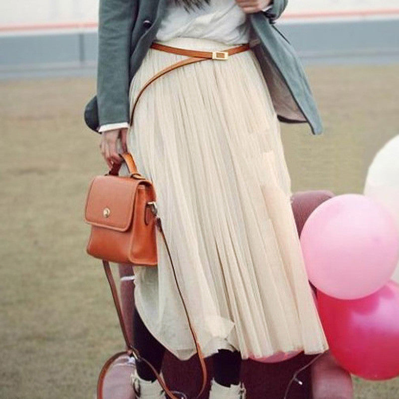 Double Layers Mesh Pleated Long Fluffy Beach Skirt - Oh Yours Fashion - 3