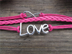 LOVE 8 Multilayer Pink Leather Cord Bracelet - Oh Yours Fashion - 2