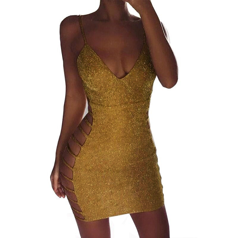 Shinning Sequins Spaghetti Straps Bandage Straps Hollow Out Women Short Dress