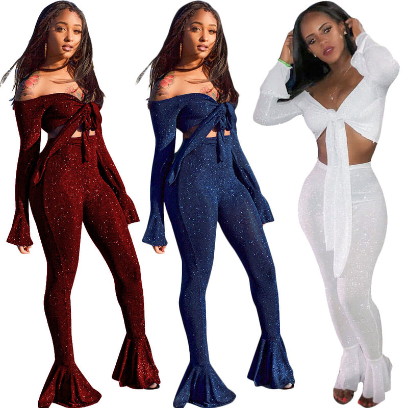 Off the Shoulder Straps Crop Top with High Waist Bell-bottom Pants Women Two Pieces Set