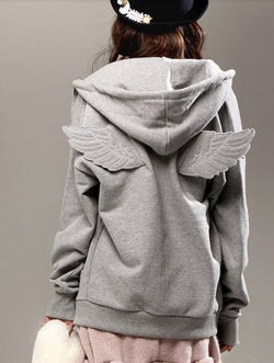 Korean Cartoon Wing Hooded Zipper Cardigan Hoodie - Oh Yours Fashion - 2