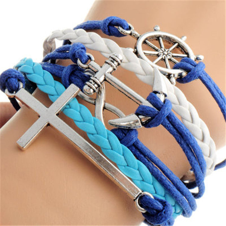 Cross Anchor Multielement Handmade Fashion Bracelet - Oh Yours Fashion - 1